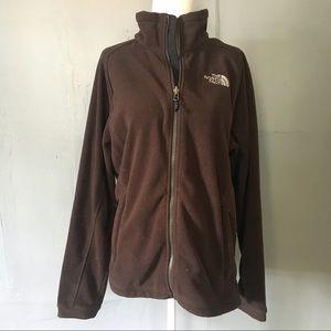 The North Face brown zip up fleece jacket coat